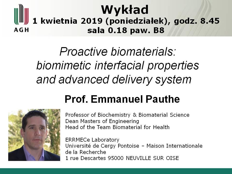 Wykład Prof. Emmanuel Pauthe